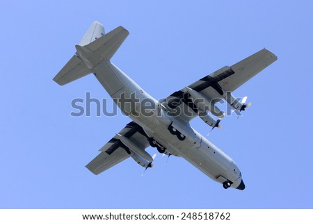 CHIANGMAI , THAILAND -FEBRUARY  5 2014: 60111 C-130 of Royal Thai Air force. Landing to Chiangmai Airport.