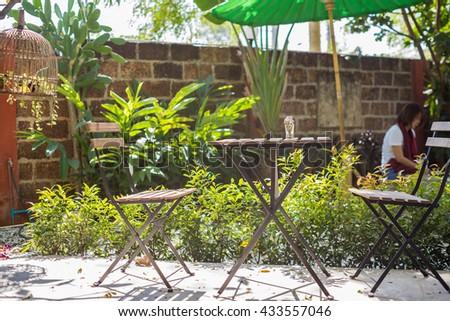Chiangmai THAILAND - FEBRUARY 1 : cafe with outdoor seating in Chiangmai, on February 1, 2016 in Chiangmai, Thailand. - stock photo