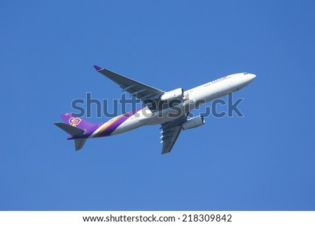 CHIANGMAI , THAILAND -FEBRUARY 5 2014: HS-TBA Airbus A330-300 of Thaiairway. Take off from Chiangmai airport to Bangkok Suvarnabhumi.