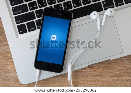 CHIANGMAI,THAILAND - FEBRUARY 17, 2015:Linkedin is a social networking website for people in professional occupations. As of June 2013 more than 259 million users in more than 200 countries. - stock photo