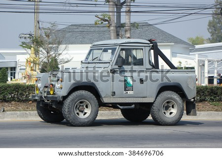 CHIANGMAI, THAILAND -FEBRUARY 11 2016:  Old Private car. Land Rover mini Truck.  On road no.1001, 8 km from Chiangmai city.