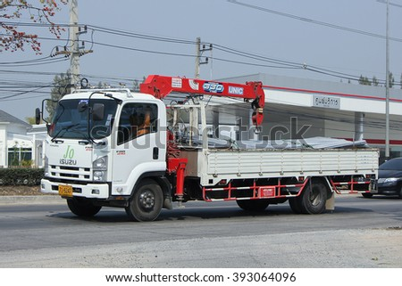 CHIANGMAI, THAILAND -FEBRUARY 19 2016:   Private Truck with crane.  On road no.1001, 8 km from Chiangmai city.