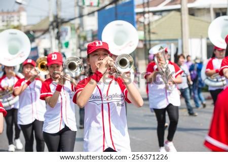 Chiangmai, Thailand February 7 : The marching band in the Chiangmai Flora Festival 2015, Chiangmai Thailand on February 7, 2015.  - stock photo