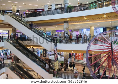 CHIANGMAI, THAILAND -JANUARY 13 2016:  Inside of Central Festival Chiangmai. New Business Plaza of Chiangmai. About 3 Km. from Chiangmai City, Thailand.
