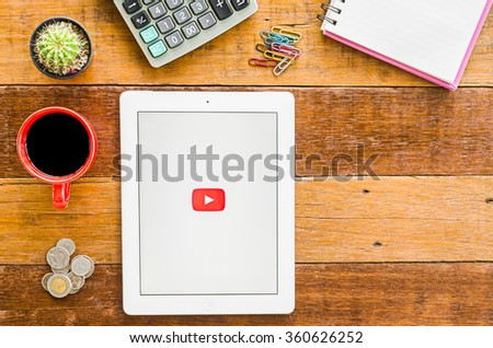 CHIANGMAI, THAILAND -JANUARY 10,2016:IPad 4 open Youtube application. YouTube is the popular online video sharing website. - stock photo