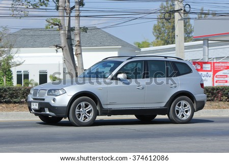 CHIANGMAI, THAILAND -JANUARY 15 2016:    Private Car. Bmw X3. Photo at road no.1001 about 8 km from downtown Chiangmai, thailand.