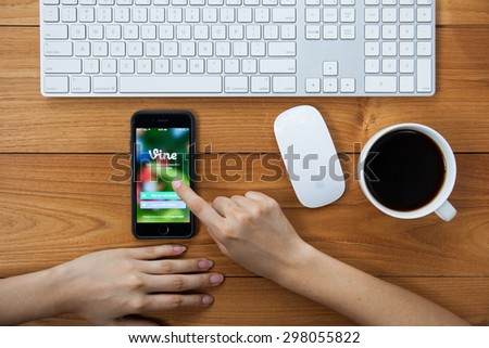 CHIANGMAI,THAILAND - JULY 17, 2015: Apple iphone displaying Vine application. Vine is a short-form video sharing service. Founded in June 2012 - stock photo