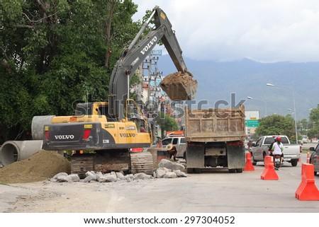 CHIANGMAI-THAILAND-JULY 16: Sewer Construction.JULY 16, 2015 Chiangmai Province, Thailand. - stock photo