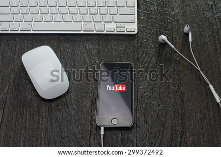 CHIANGMAI,THAILAND - JULY 24, 2015: YouTube service that provides a video hosting service. Users can add, view, comment and share videos with   - stock photo