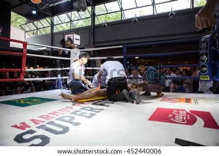 "CHIANGMAI , THAILAND - JUN 18 2016: Unidentified players in Muaythai "" Warmup PK group Super Fight"" - stock photo"