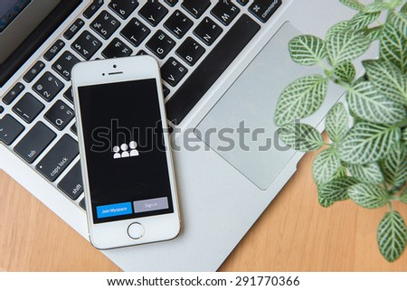 CHIANGMAI, THAILAND - June 24, 2015:Apple iphone 5s displaying Myspace application. - stock photo
