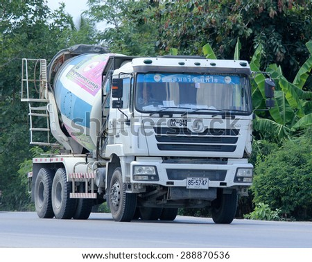 CHIANGMAI, THAILAND - JUNE  18 2015:   Cement truck of TPI Concrete company. Photo at road no 121 about 8 km from downtown Chiangmai, thailand.