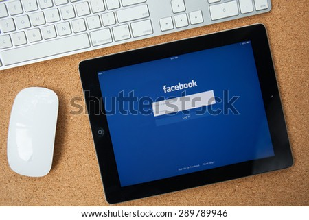 CHIANGMAI, THAILAND -JUNE 23, 2015:Facebook is an online social networking service founded in February 2004 by Mark Zuckerberg with his college roommates and is now a fortune 500 company. - stock photo