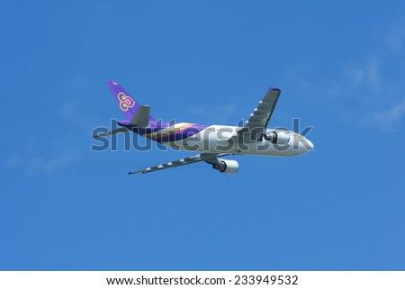 CHIANGMAI , THAILAND - JUNE 20 2009: HS-TAO Airbus A300-600 of Thaiairway. Takeoff from Chiangmai airport to Bangkok Suvarnabhumi, thailand. - stock photo