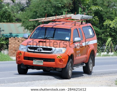 CHIANGMAI, THAILAND - JUNE 4 2015: Mini truck of Tot company.Intenet and Telephone Service in Thailand.  Photo at road no.121 about 8 km from downtown Chiangmai, thailand. - stock photo