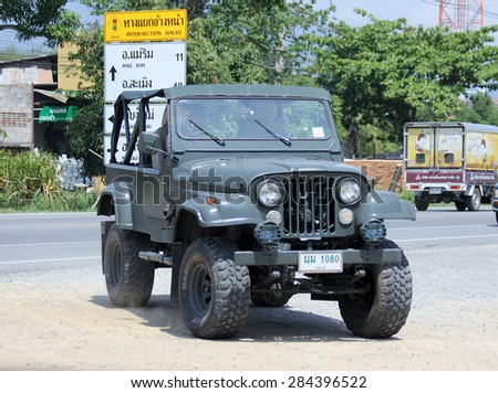 CHIANGMAI, THAILAND - JUNE 4 2015:  : Old Jeep Private car. Photo at road no 121 about 8 km from downtown Chiangmai, thailand.