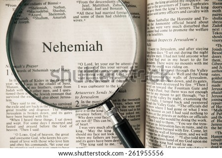 "CHIANGMAI, THAILAND, March 17,2015. Reading The New International Version of the Holy Bible on the book of "" nehemiah "" at home. March 17,2015"