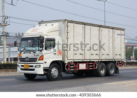 CHIANGMAI, THAILAND -MARCH 14 2016:   Truck of Nim See Seng Transport 1988 company. Photo at road no 121 about 8 km from downtown Chiangmai, thailand.