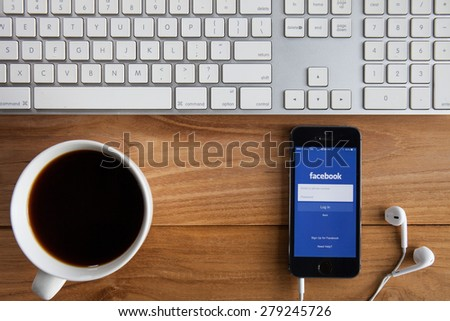 CHIANGMAI, THAILAND -MAY 19, 2015:Facebook is an online social networking service founded in February 2004 by Mark Zuckerberg with his college roommates and is now a fortune 500 company. - stock photo
