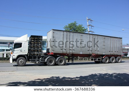 CHIANGMAI, THAILAND -NOVEMBER 22 2015:    Private container Trailer Truck. Photo at road no.1001 about 8 km from city center, thailand.