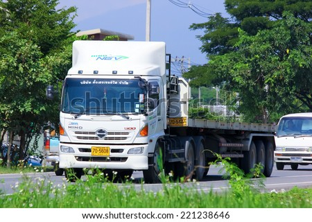 Chiangmai, Thailand - October 3, 2014: Trailer Truck of Tangheng Service transport company. Photo at road no.121 about 8 km from downtown Chiangmai, thailand.