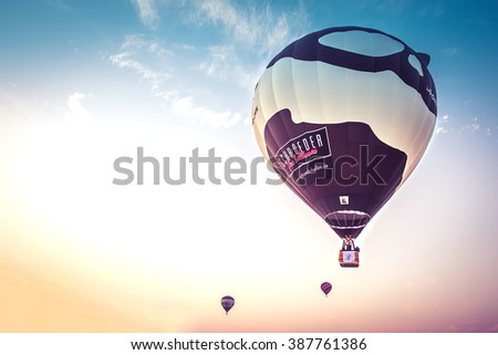 Chiangmai , THAILAND on March 5,2016 : Hot Air Balloons Show in The 9th Thailand International Balloon Festival 2016 at Payap University - stock photo