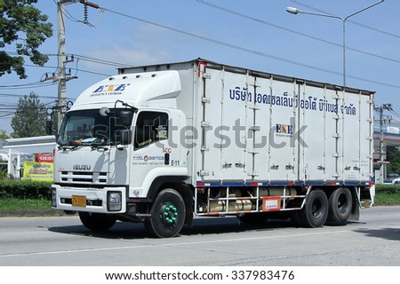 CHIANGMAI, THAILAND -SEPTEMBER  22 2015:  Container Truck of SCG logistics. Photo at road no 121 about 8 km from downtown Chiangmai, thailand.