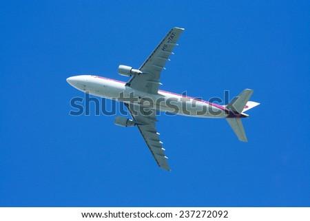 CHIANGMAI, THAILAND -SEPTEMBER 3 2008: HS-TAT Airbus A300-600R of Thaiairway. Morning takeoff from Chiangmai airport to Bangkok Suvarnabhumi. thailand.  - stock photo