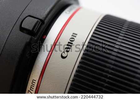 CHIANGMAI, THAILAND - September 29, 2014: The logo of Canon on lens.