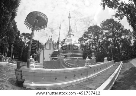 CHIANGRAI ,THAILAND-AUGUST 31,2015 : Wat Phra That Doi Tung. this temple has a stupa reputed to contain the Buddha's collarbone, Located Doi Tung an altitude of nearly 2000 meters.Chiangrai,Thailand. - stock photo