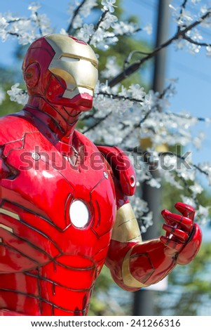 CHIANGRAI, THAILAND - DECEMBER 31, 2014 : An Iron Man model at Chiang Rai ASEAN flower festival 2014
