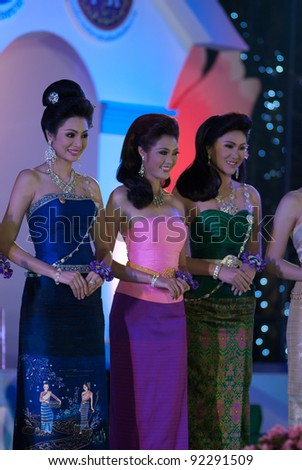 "CHIANGRAI, THAILAND - DECEMBER 25: Competitors during the ""miss chiangrai contest 2011"" at Chiangrai province on December 25, 2011 in Chiangrai, Thailand."