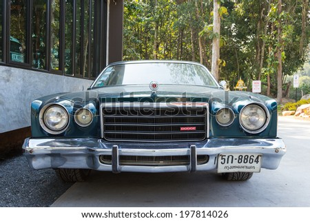CHIANGRAI, THAILAND-JAN 10, 2014: The Dodge SE classic logo show on car January 10, 2014 at Chiangrai, Thailand - stock photo