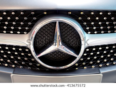 CHIANGRAI, THAILAND - MAY 1, 2016 : Logo of Mercedes-Benz C 250 Coupe on display at Central Plaza Chiangrai