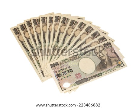 CHIANGRAI, THAILAND - OCTOBER 8: Japanese ten thousand yen bank note isolated on white background, taken on October 8, 2014 in Chiangrai, Thailand.. - stock photo