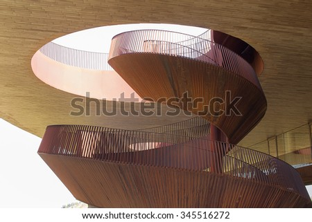 Chianti Region, Italy-May 31, 2015. Abstract Modern Architecture with construction of exposed metal with rust of the Antinori Chianti Classico Winery - stock photo