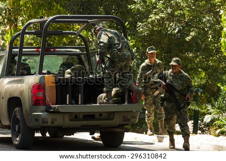 Chiapas, Mexico: 25 March, 2015. Mexican army soldiers in Chiapas, Mexico