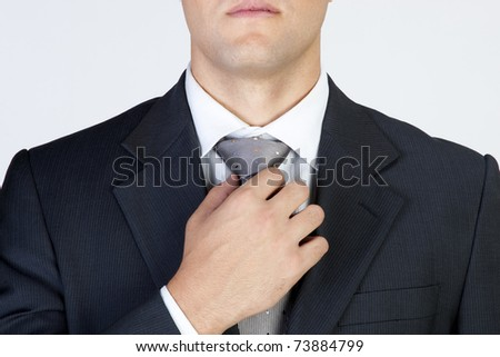 chic and stylish gentleman touching tie - stock photo