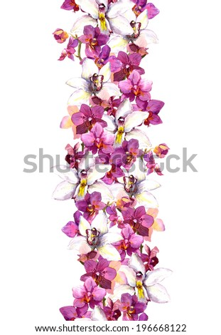 Chic floral seamless frame pattern with tropical flowers orchid. Watercolor - stock photo