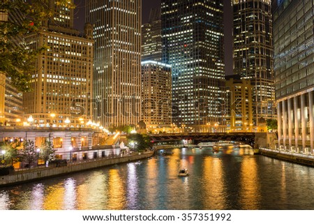 Chicago and its river at night - stock photo