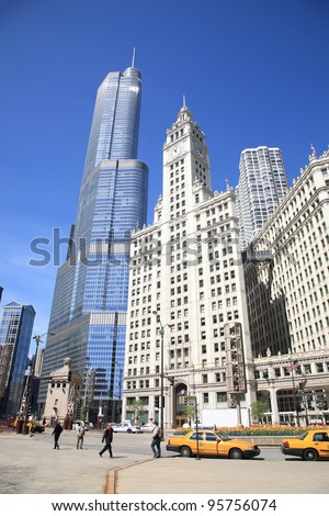 CHICAGO - APRIL 26: Busy street scene near Wrigley Building on April 26, 2010 in Chicago, Illinois. The Windy City is the third largest city in the U.S. and is a worldwide center of commerce. - stock photo