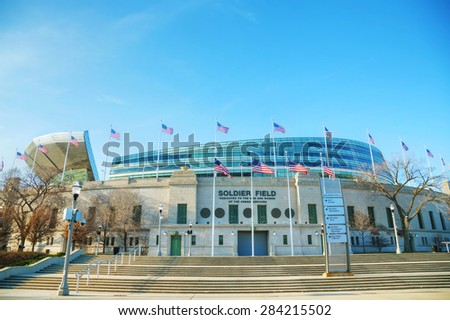 CHICAGO - APRIL 10: Soldier Field stadium on April 10, 2014 in Chicago, IL. It's an American football stadium on the Near South Side of Chicago. Opened in 1924, it is the oldest NFL stadium. - stock photo