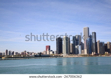 CHICAGO - APRIL 26: The Chicago skyline on Lake Michigan.on April 26, 2010 in Chicago, Illinois. The Windy City is the third largest city in the U.S., a worldwide center of commerce.  - stock photo