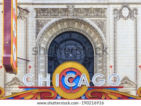 CHICAGO - APRIL 17 : The famous Chicago Theater on State Street on April 17, 2014 in Chicago, Illinois, The iconic marquee often appears in films and television - stock photo