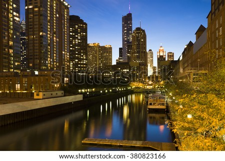 Chicago architecture along the canal. CHicago, Illinois, USA.  - stock photo