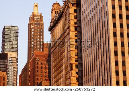 Chicago architecture at sunset - Chicago, Illinois, USA - stock photo