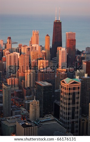 Chicago at sunset - stock photo