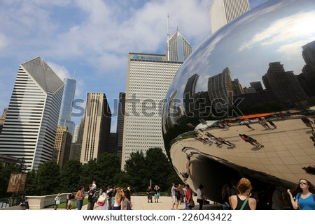 CHICAGO - August 05 : View of the Cloud Gate sculpture in Millennium Park in Chicago on August 05 14 , The sculpture is nicknamed The Bean , designed by British artist Anish Kapoor.