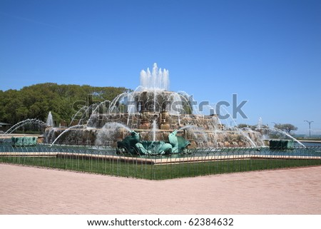 Chicago - Buckingham Fountain in Grant Park - stock photo