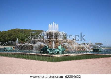 Chicago - Buckingham Fountain in Grant Park - stock photo